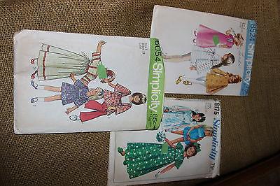 lot of 3 vintage little girl sewing patterns