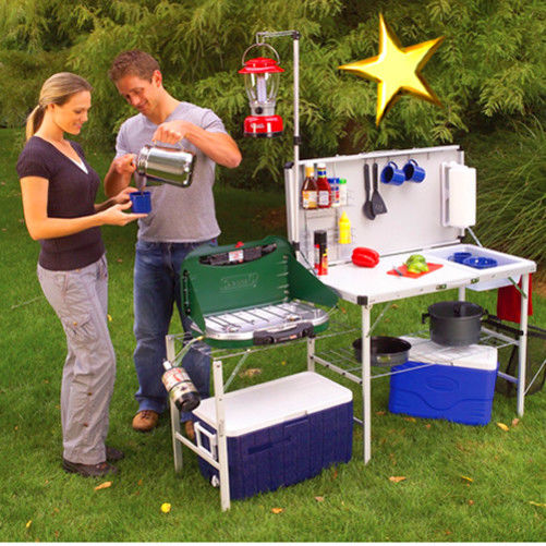 Camp Kitchen Portable Outdoor Coleman Pack Away Prep Stand Table Cooking Folding