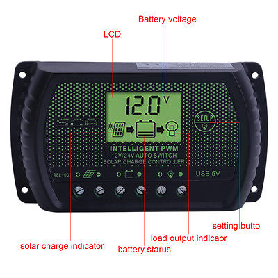LCD 30A Solar Panel Battery Regulator Charge Controller 12/24V Auto PWM USB US W