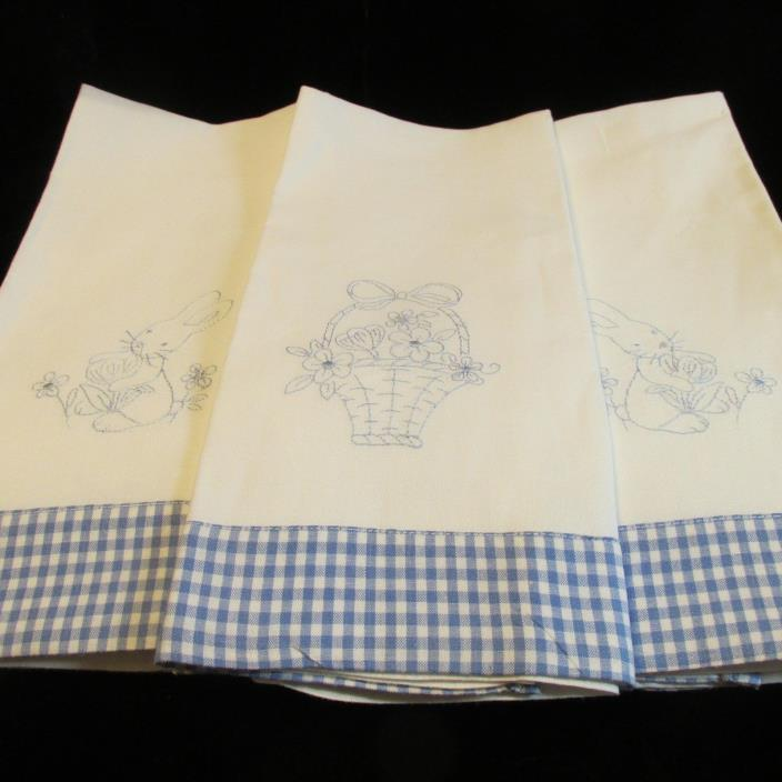 HALLMARK Guest Fingertip Towel Set-3 Embroidered Blue/White-Bunny-Flower Basket