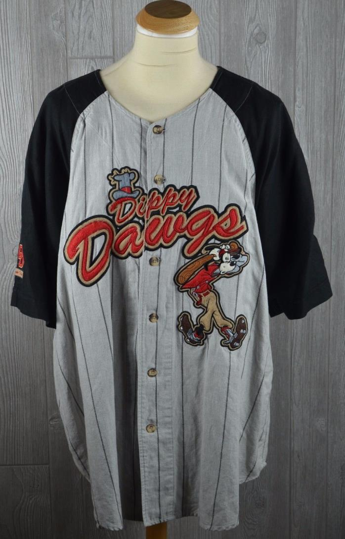 Walt Disney World Goofy Dippy Dawgs Button Up Baseball Jersey Shirt Short Sleeve