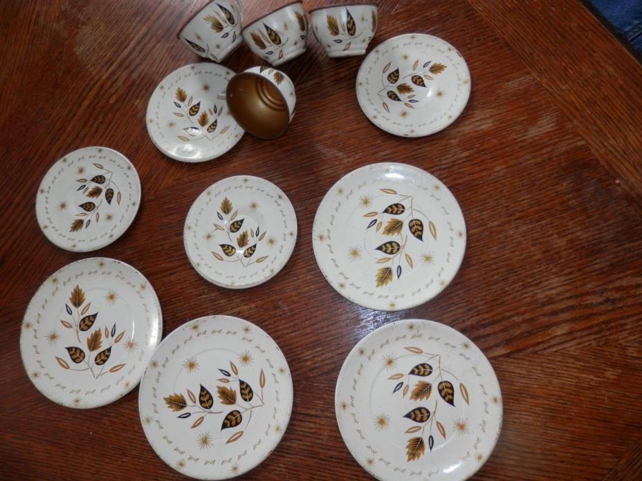 Vintage Childrens Toy Dishware, Set of 4, Each Set Has Plate, Saucer and Cup