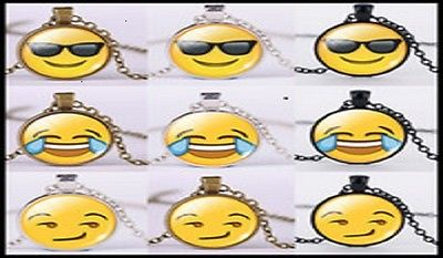 (25) Emoji Necklaces Silver, Bronze, Black Chains oNLY $2.00EACH