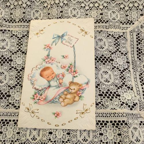 Vintage Greeting Card Baby Congrats Basket Brown Bear