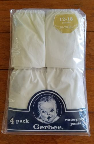 Gerber 4 PK Waterproof Training Pants White Sz 12 - 18 Mo. 20-28 lbs
