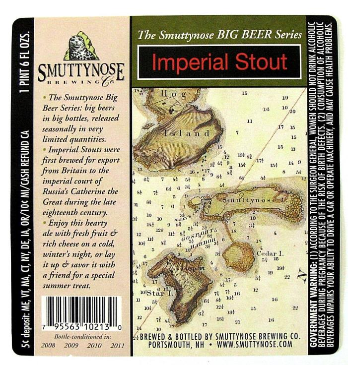Smuttynose Brewing IMPERIAL STOUT beer label NH 22oz 2008-2011 Big Beer Series