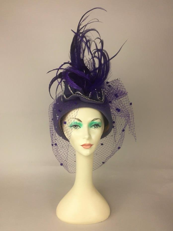 Estate Find! Meril Purple Felt & Feathers Embellished Pillbox Derby USA Made