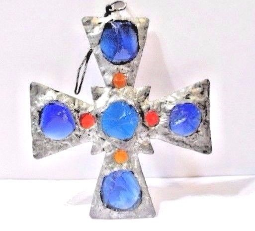 HANDCRAFTED ARTS AND CRAFTS PERIOD CHUNKY GLASS MALTESE CROSS WINDOW OR WALL