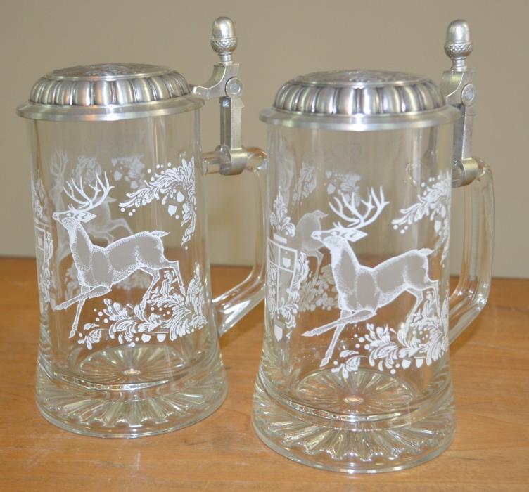 Set of Two - Vintage Domex Etched Glass Lidded Beer Steins - Deer