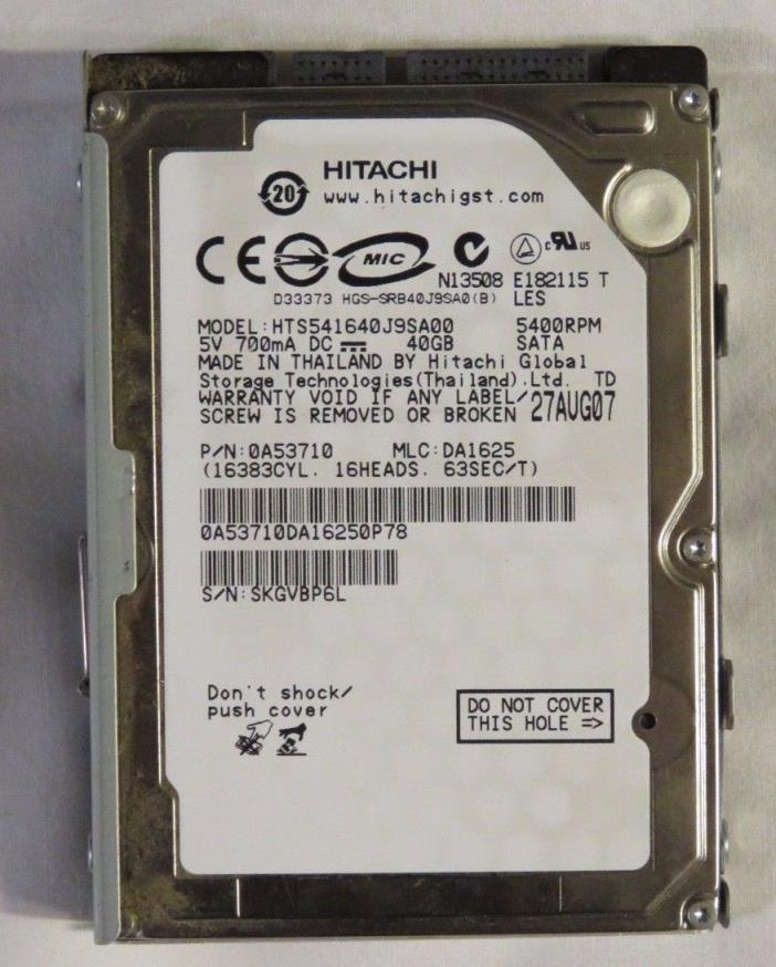 PS3 40GB HITACHI Hard Drive (GREAT CONDITION, WORKS WELL, COMES WITH PS3 MOUNT)
