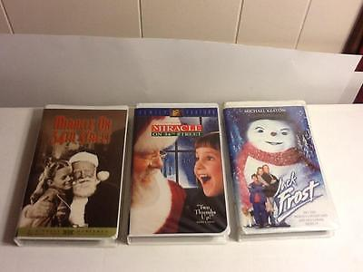 Lot of 3 Classic VHS Christmas Movies/Videos Miracle On 34th Street/Jack Frost