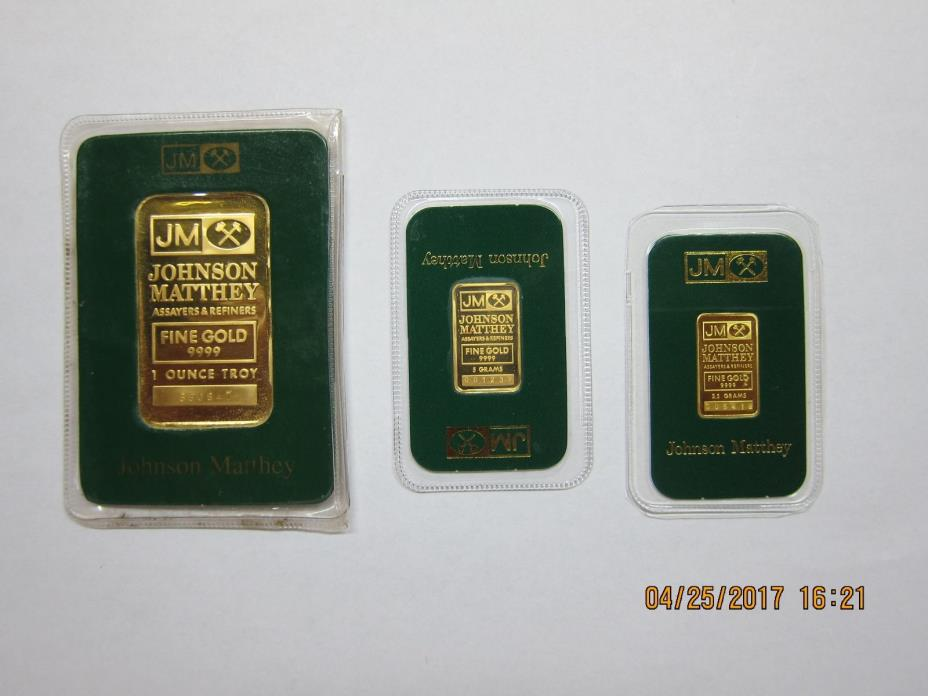 Set of Johnson Matthey gold bars 1 OZ;5 grams;2.5 grams!
