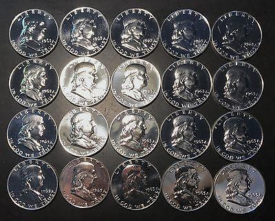 1963 50C Franklin Half Dollar BU Roll 20 Coins