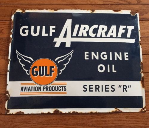 Vtg Gulf Aircraft Aviation Sign Engine Oil Series R Porcelain Roached