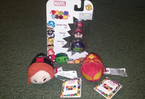 lot of marvel tsum tsum New black widow spiderman/iron spider gamora and falcon