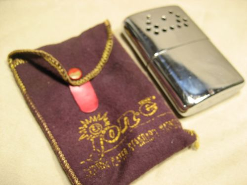 Vintage Jon-e Hand warmer in worn fabric bag