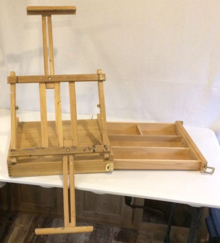 Vintage Oak Painters Pochade Box Extendable Artist Art Easel 16x14