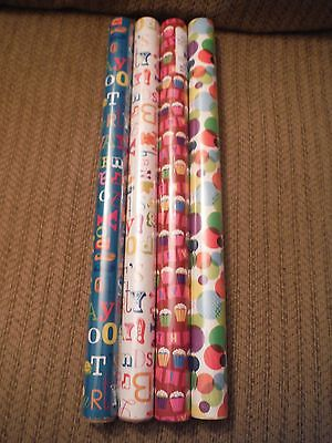 NEW Lot of 4 BIRTHDAY Wrapping Paper MULTI-COLOR - 20