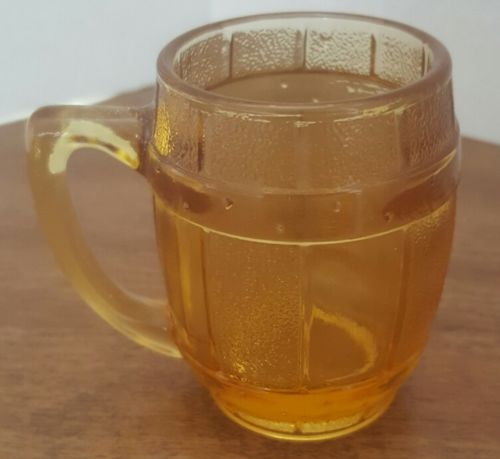 Vintage Yellow Glass Barrel Shot Glass/Toothpick Holder