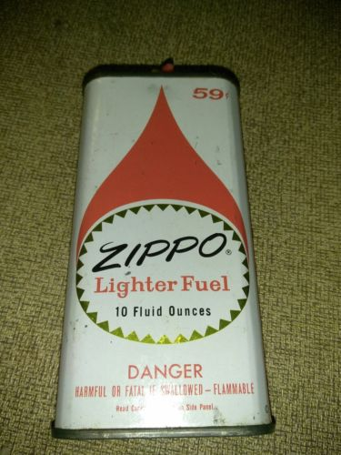 Vintage Zippo Lighter Fuel Can 10 oz  Collectible 59 CENTS Fluid 5.5