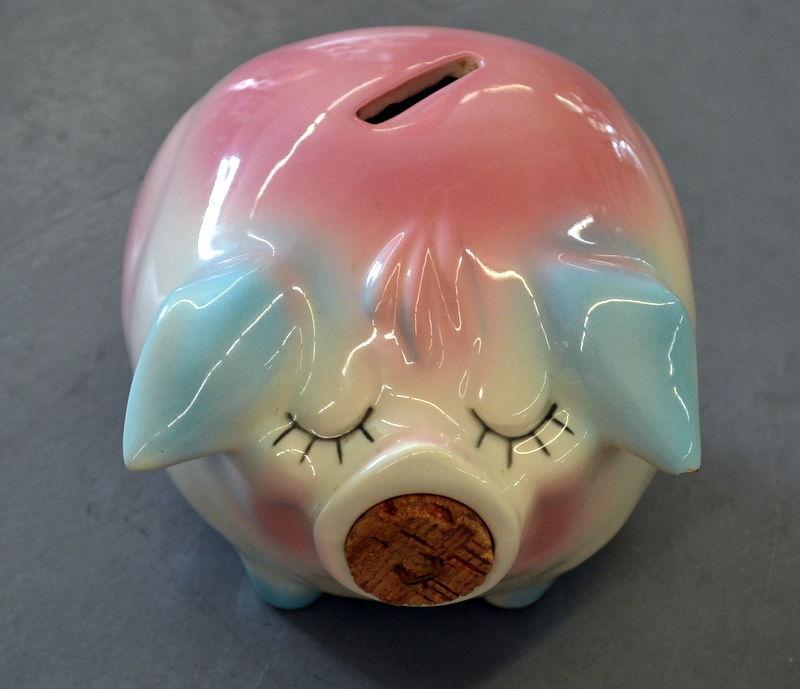 Vintage 1957 HULL Corky Pig Piggy Bank Pink Blue with Orginal Cork Missing Ring