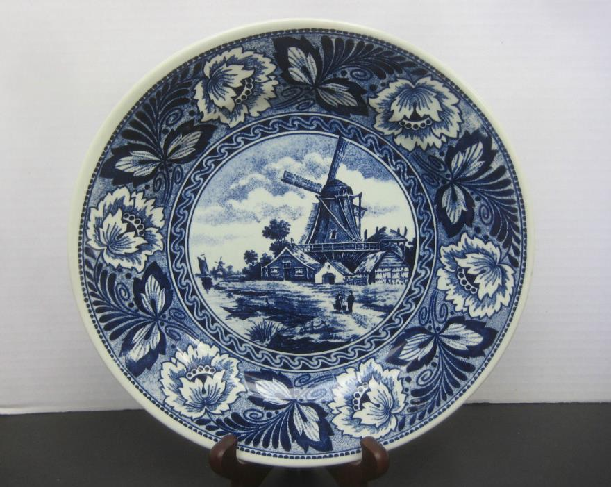 Boch Belgium Delfts Blue & White Windmill Plate or Charger 9-1/4