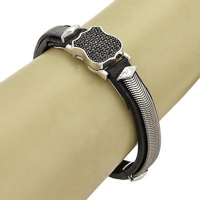 Stephen Webster HIGHWAYMAN Sterling Black Sapphires & Leather Shield Bracelet