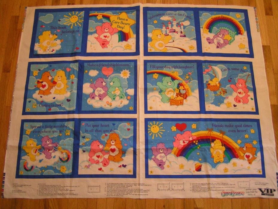 Care Bears Fabric Book Panel VIP Cranston 2004 Care-A-Lot Castle Baby Gift! USA