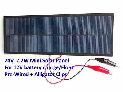 Pre-wired 2.2W Mini Solar Panel 24V for direct 12V battery charging - US Seller