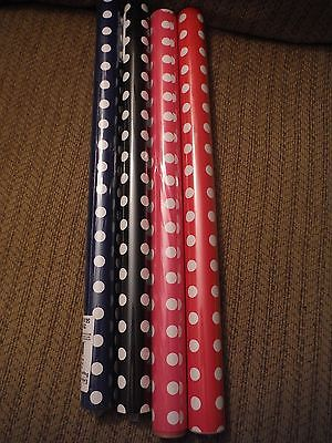 NEW Lot of 4 Polka Dot Wrapping Paper BLACK, BLUE, PINK, RED  - 20