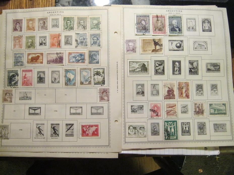 ARGENTINA Stamps Collection 140 Stamps Minkus Album 1858-1956