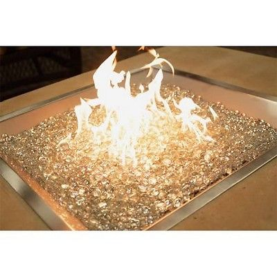 24Inch x 24Inch Square Crystal Fire Stainless Steel Burner with Glass Gems- NEW
