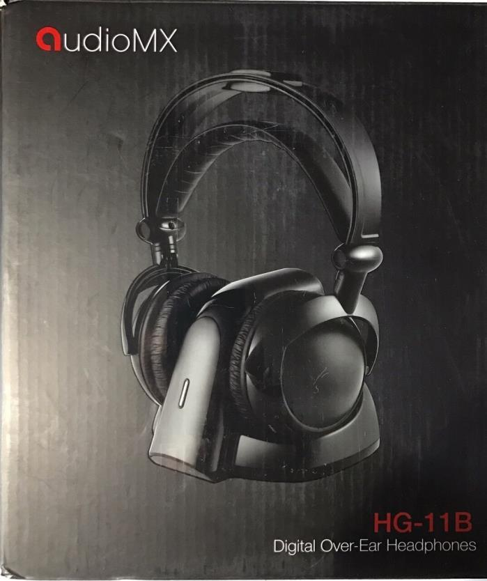 AudioMX HG-11B-1 Wireless RF Over-Ear Headphones for TV with 2.4 GHz Digital 6.3