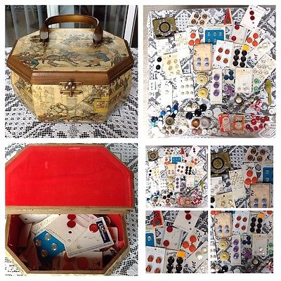 ANTIQUE VINTAGE MIXED LOT SEWING BUTTONS & Vintage Sewing Wooden Box