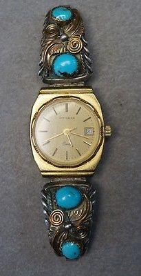 Working Wittnauer With Native American Navajo 925 Sterling Silver Watch Tips