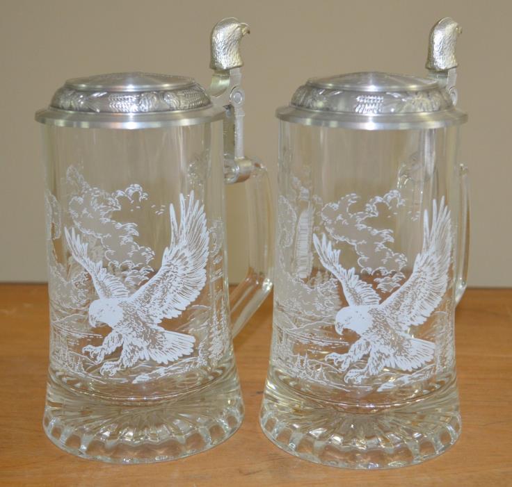Set of Two - Vintage Domex Etched Glass Lidded Beer Steins - Bald Eagle