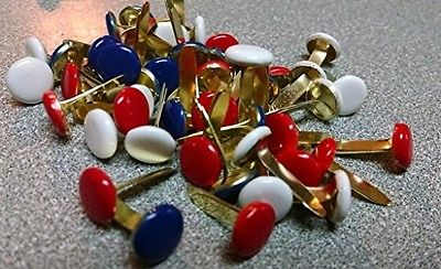 Red, White & Blue Large Round Brads Assorted Bulk 50ct - 4th of July - Americana