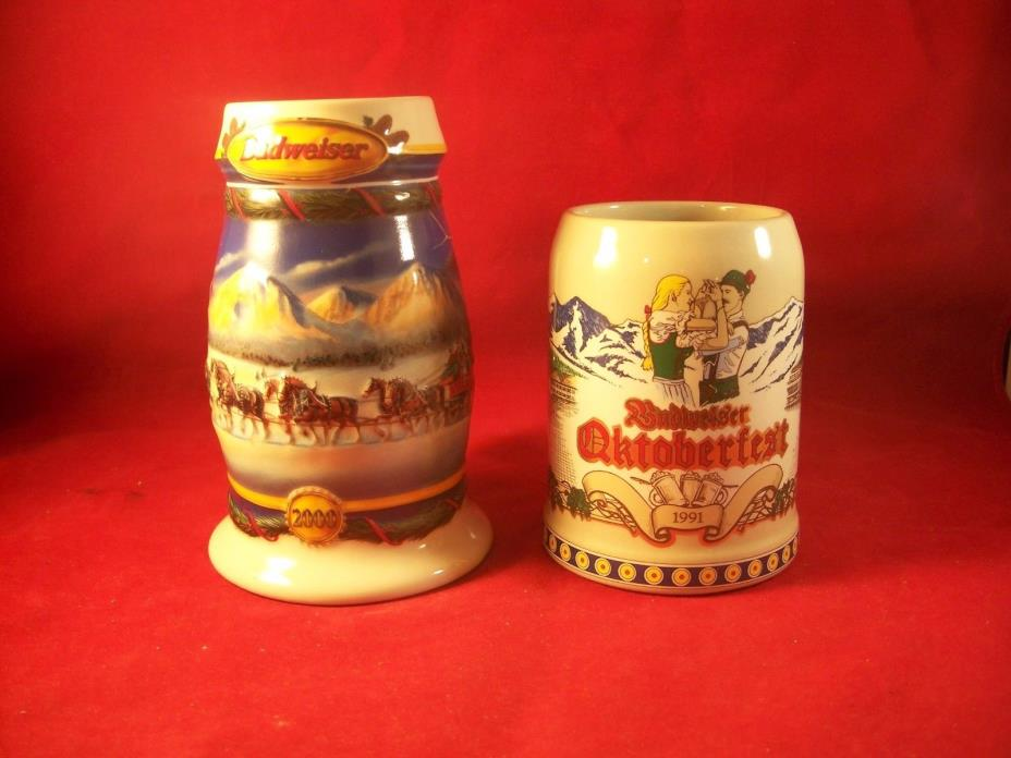 2000 -1991 Budweiser 2 Pcs Steins Holiday in the Mountains and Oktoberfest