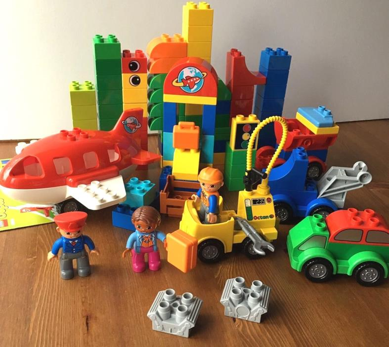 Lego Duplo Lot Airport Complete Set 10590 Airplane Cars Engine Figures +xtra pcs