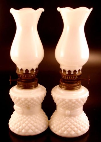 Pair Milk Glass Miniature Oil Lamps Hong Kong
