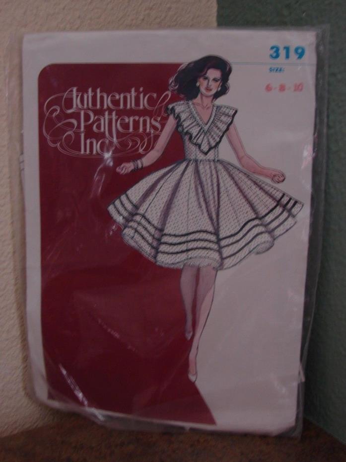 Authentic Patterns Inc # 319 Sleeveless Square Dance Dress Misses sz 6 8 10, Cut