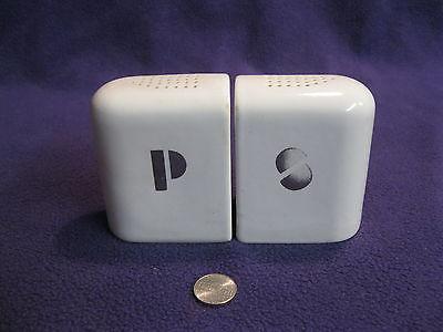 Vintage White Art Deco Slab End to End Salt and Pepper Shaker Ceramic         71