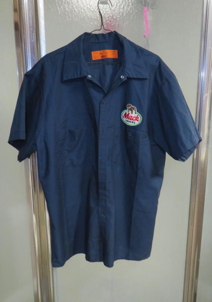 Vintage  MACK TRUCK WORK SHIRT Mechanic Uniform PATCH Blue XL