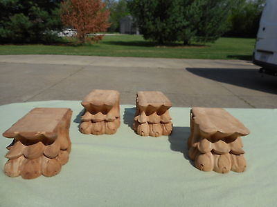 Set of 4 Wooden Paw Claw Lion Feet Antique Reproduction Carved Vintage