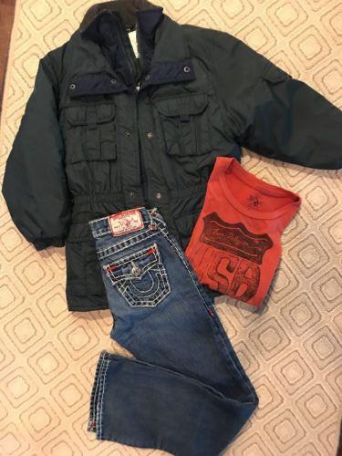 True Religion Boys Billy  Super T Jeans,Shirt Weather Tamer Winter Jacket Sz 10