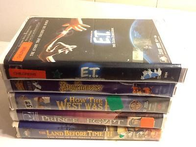 Lot of 5 Classic VHS Movies Cartoon/Kids ET/Pagemaster/Olsen Twins See Listing