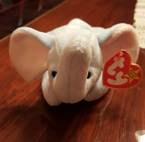 Ty Beanie Peanut Baby Blue Elephant  1/25/1995 8.5