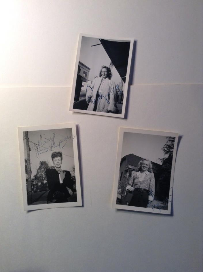 LOT 3 ONE OF A KIND AUTOGRAPHED ACTRESS PHOTOS, 1940s, LUPINO, KEYES, DELL