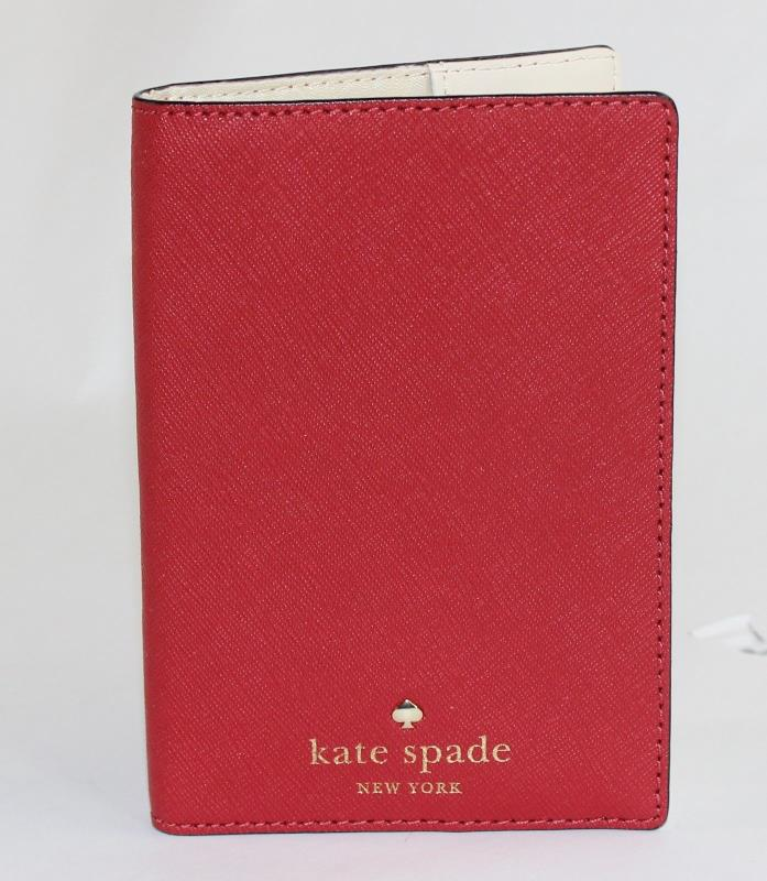 KATE SPADE MIKAS POND PASSPORT HOLDER WALLET COVER PILLBOX RED NWOT