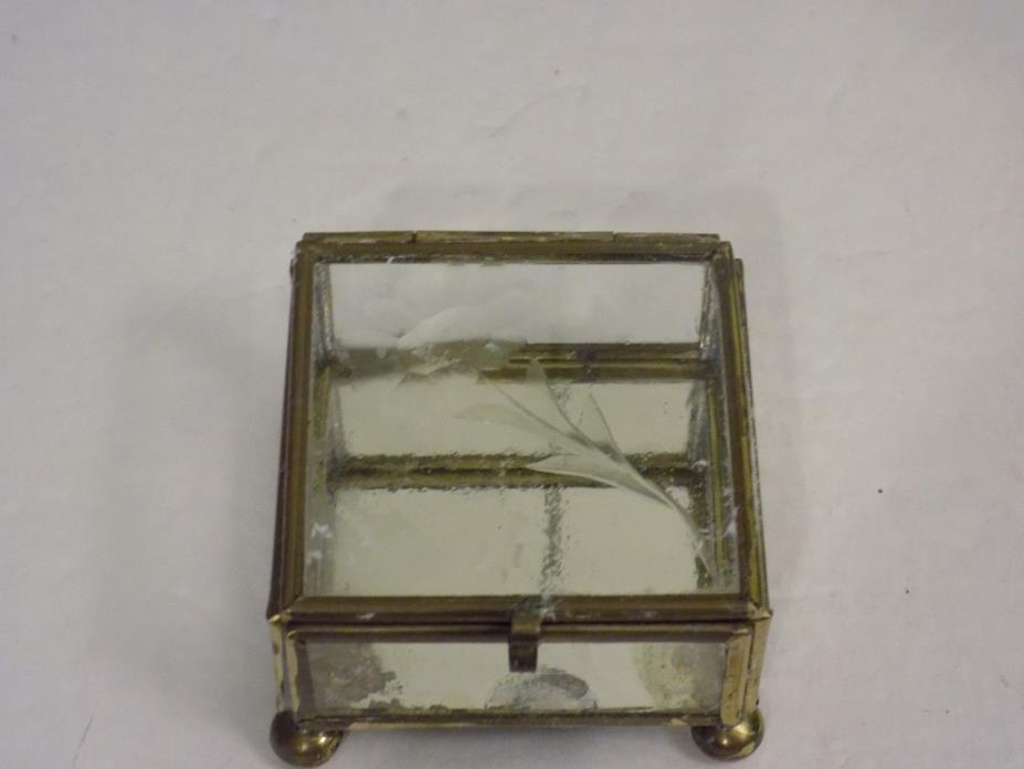 Vintage small metal and glass trinket box